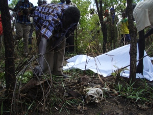 Elders in Odek Village, Gulu gather remains of people killed in the LRA war for reburrial. Rosebell Kagumire/2009