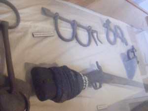 From the museum on the island. some shackles, guns and other things used by slave traders