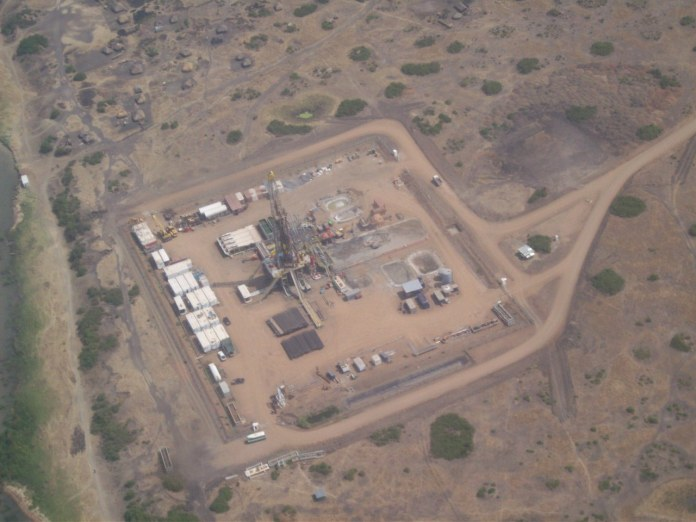 oil exploration work site in the albertine region