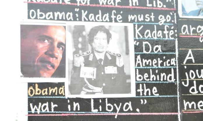 Headline about Obama on Gaddafi