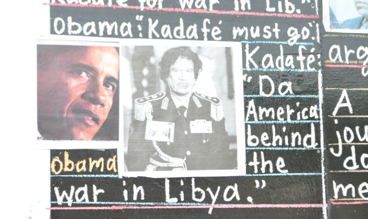 Headline about Obama on Gaddafi