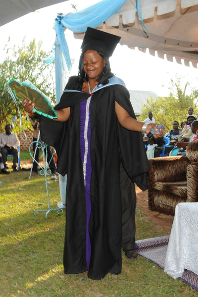 Moreen Ndagire at her graduation in last year. Photo from Observer.