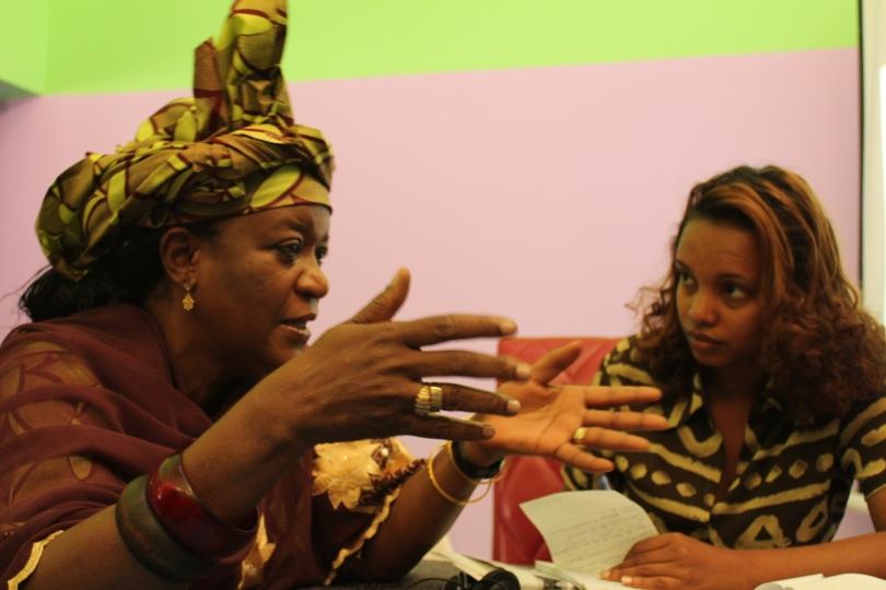 Zainab Bangura speaking to  journalists in Addis Addis Ababa