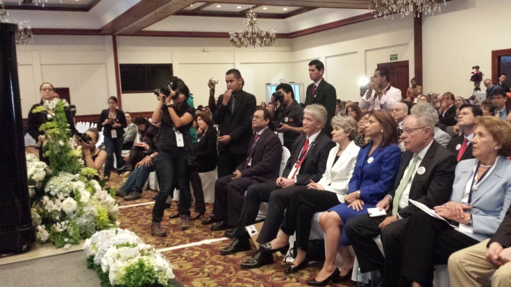 Costa Rican President Laura Chinchilla (in Blue) listening to Reeyot's speech at WPFD.