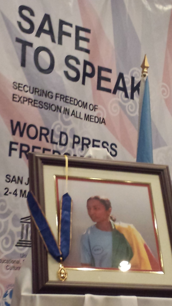 Reeyot's photo at the award ceremony for 2013 World Press Freedom Prize in San Jose Costa Rica.