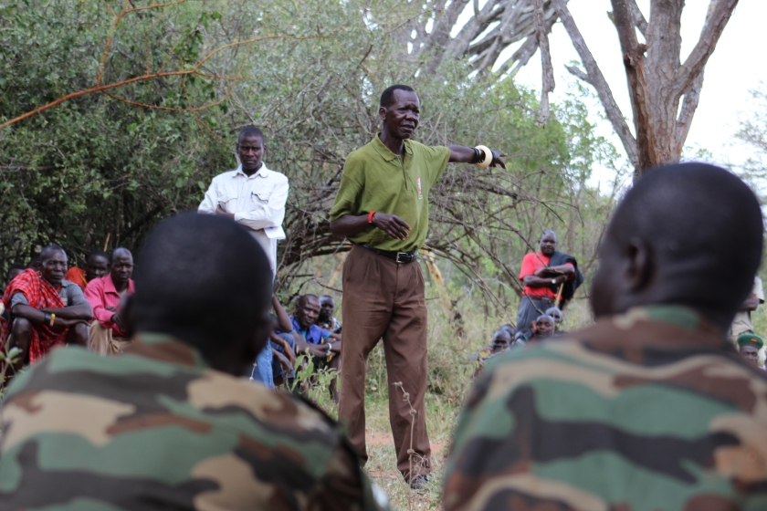 Soldiers listen in during the dialogue