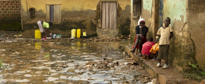 A Wateraid photo from a slum near Makerere University.