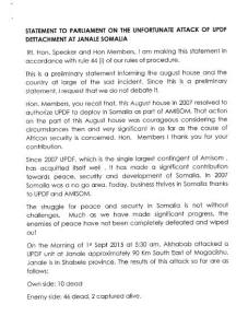 Uganda Govt Statement on Janaale Attack
