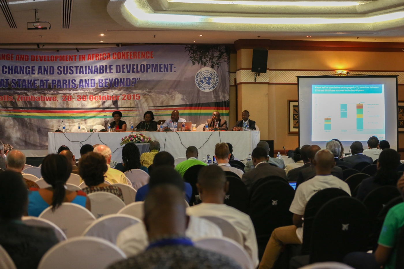 Panelists at one of the sessions at the 5th Conference on Climate Change and Development in Africa (CCDA-V). Photo by IISD http://www.iisd.ca/climate/ccda5/